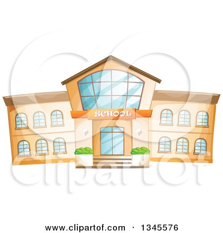 Clipart of a School Building Facade - Royalty Free Vector Illustration by merlinul