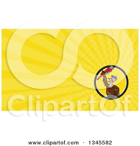 Clipart of a Cartoon Turkey Bird Plumber Worker Man Wearing a Baseball Cap and Holding up a Monkey Wrench and Yellow Rays Background or Business Card Design - Royalty Free Illustration by patrimonio