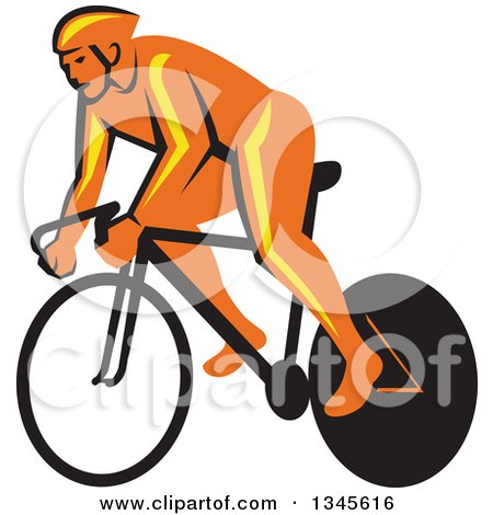 Clipart of a Retro Orange Cyclst Racing a Bicycle - Royalty Free Vector Illustration by patrimonio