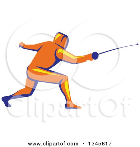 Clipart of a Retro Orange Yellow and Blue Man Fencing - Royalty Free Vector Illustration by patrimonio