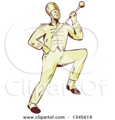 Clipart of a Retro Sketched or Engraved Marching Band Drum Major Holding up a Baton - Royalty Free Vector Illustration by patrimonio