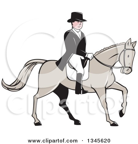 Clipart of a Cartoon Male Equestrian in a Top Hat, Riding a Horse - Royalty Free Vector Illustration by patrimonio