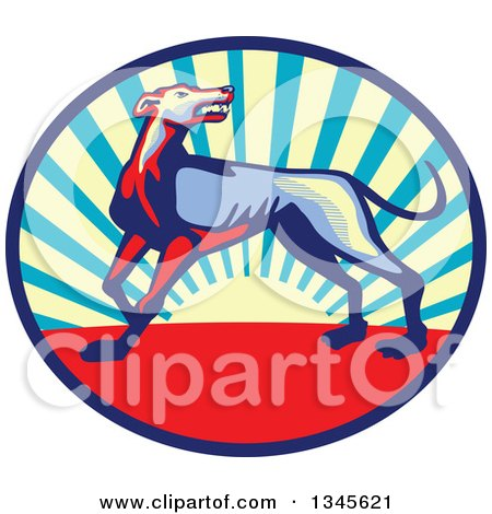 Clipart of a Retro Angry Greyhound Dog Growling in a Sunset Oval - Royalty Free Vector Illustration by patrimonio