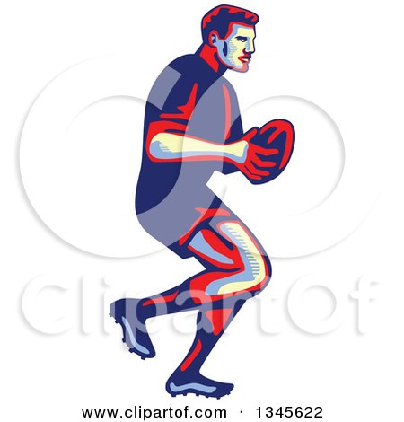 Clipart of a Retro Male Rugby Player Athlete Running with the Ball - Royalty Free Vector Illustration by patrimonio