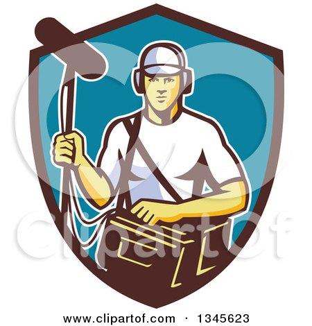 Clipart of a Retro White Male Film Crew Sound Man in a Shield - Royalty Free Vector Illustration by patrimonio