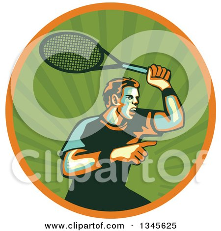 Clipart of a Retro Male Tennis Player Athlete Pointing and Holding up a Racket in a Green Ray and Orange Circle - Royalty Free Vector Illustration by patrimonio