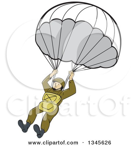 Outline Design Of A Skydiver With An Underwear Parachute Posters, Art ...