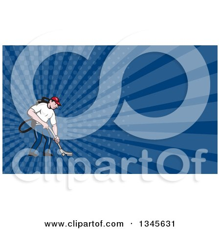 Clipart of a Cartoon White Male Janitor Worker Vacuuming and Dark Blue Rays Background or Business Card Design - Royalty Free Illustration by patrimonio