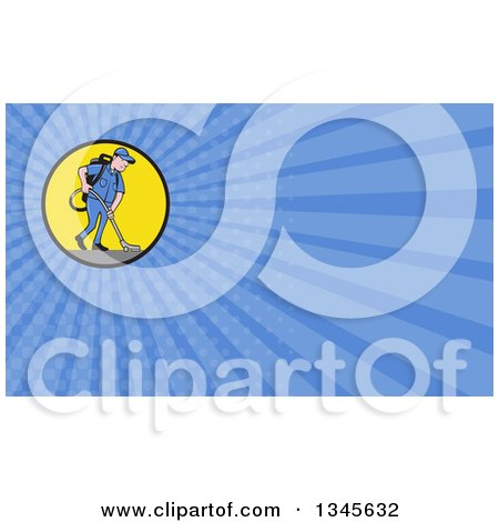 Clipart Of A Cartoon White Male Janitor Worker Vacuuming