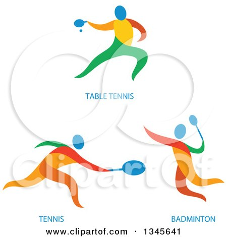 Clipart of Colorful Ping Pong, Tennis and Bandminto Athletes - Royalty Free Vector Illustration by patrimonio