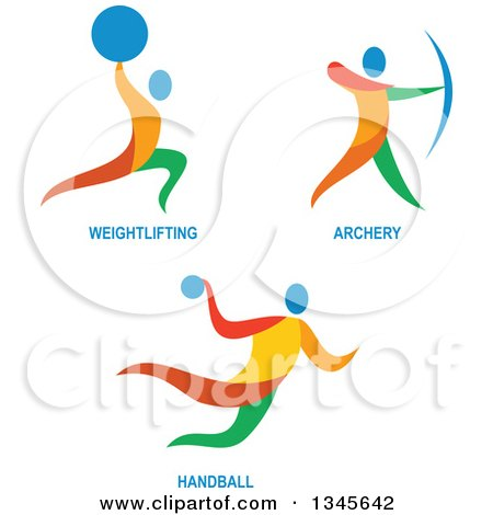 Clipart of Colorful Weightlifting, Archery and Handball Athletes - Royalty Free Vector Illustration by patrimonio