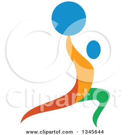 Clipart of a Colorful Athlete Weightlifting, Doing Lunges with a Barbell over His Head - Royalty Free Vector Illustration by patrimonio