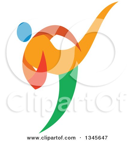 Clipart of a Colorful Martial Arts Athlete Doing Taekwondo - Royalty Free Vector Illustration by patrimonio