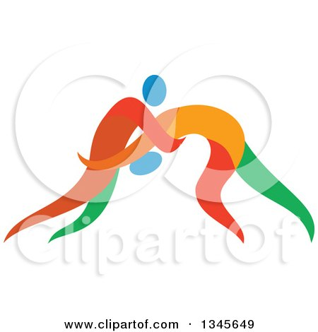 Clipart of Colorful Athletes Wrestling - Royalty Free Vector Illustration by patrimonio