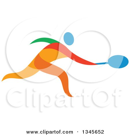 Clipart of a Colorful Athlete Tennis Player - Royalty Free Vector Illustration by patrimonio