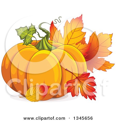 Clipart of a Plump Festive Pumpkin with Autumn Leaves - Royalty Free Vector Illustration by Pushkin