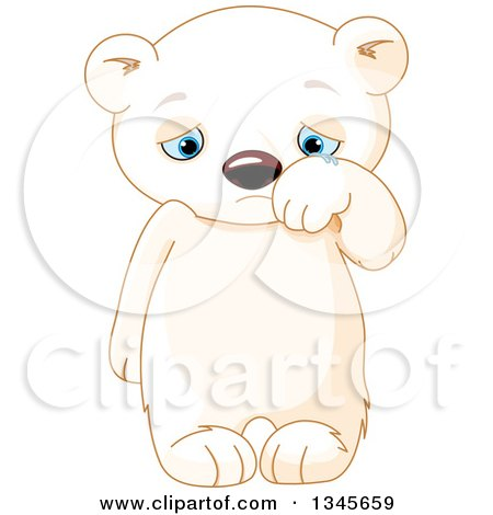 Clipart of a Cute Sad Baby Polar Bear Cub Crying and Wiping Away Tears - Royalty Free Vector Illustration by Pushkin