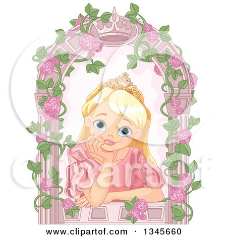 Clipart of a Happy Blond, Blue Eyed Caucasian Princess with a Dreamy Expression, Resting Her Chin in Her Hand in a Crown Arch Window with Roses - Royalty Free Vector Illustration by Pushkin