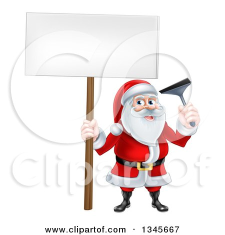 Clipart of a Christmas Santa Claus Holding a Window Cleaning Squeegee and Blank Sign 4 - Royalty Free Vector Illustration by AtStockIllustration