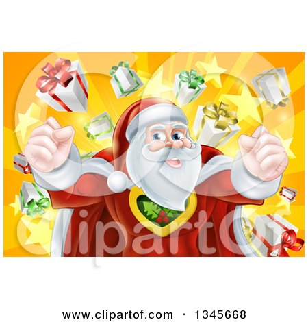 Clipart of a Super Hero Santa Claus Flexing over a Star Burst with Gifts - Royalty Free Vector Illustration by AtStockIllustration