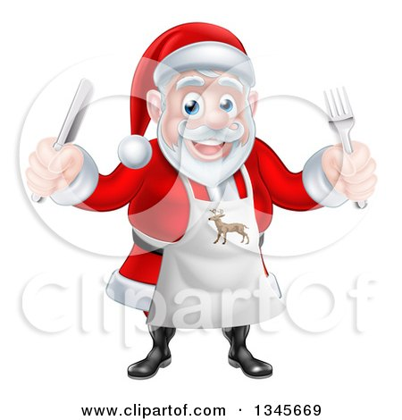 Clipart of a Happy Christmas Santa Claus Wearing an Apron and Holding Silverware 2 - Royalty Free Vector Illustration by AtStockIllustration