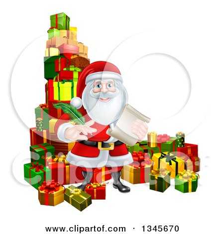 Clipart of a Christmas Santa Claus Holding a Feather Pen and Scroll List by Gifts - Royalty Free Vector Illustration by AtStockIllustration