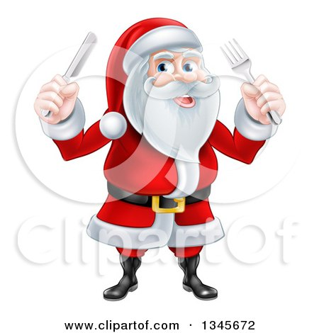 Clipart of a Happy Christmas Santa Claus Holding Silverware - Royalty Free Vector Illustration by AtStockIllustration