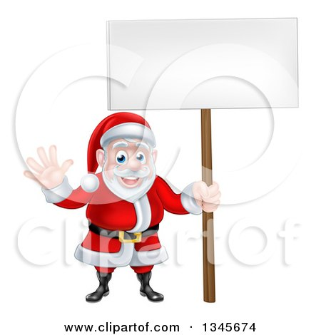Clipart of a Cartoon Christmas Santa Claus Waving and Holding a Blank Sign - Royalty Free Vector Illustration by AtStockIllustration