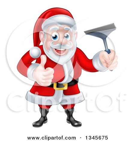 Clipart of a Christmas Santa Claus Giving a Thumb up and Holding a Window Cleaning Squeegee 4 - Royalty Free Vector Illustration by AtStockIllustration