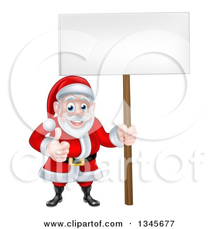 Clipart of a Cartoon Happy Christmas Santa Claus Holding a Blank Sign and Giving a Thumb up 2 - Royalty Free Vector Illustration by AtStockIllustration