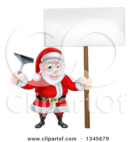 Clipart of a Christmas Santa Claus Holding a Window Cleaning Squeegee and Blank Sign 3 - Royalty Free Vector Illustration by AtStockIllustration