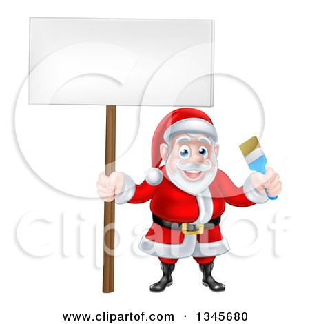 Clipart of a Christmas Santa Claus Holding a Blue Paintbrush and Sign 2 - Royalty Free Vector Illustration by AtStockIllustration