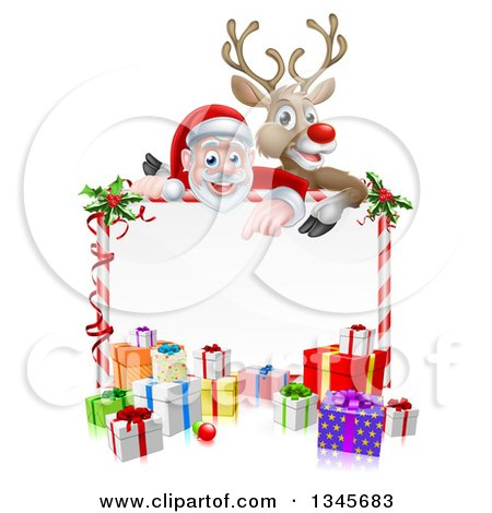 Clipart of a Cartoon Christmas Red Nosed Reindeer and Santa over a Blank White Sign and Gifts - Royalty Free Vector Illustration by AtStockIllustration