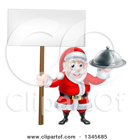 Clipart of a Happy Santa Claus Holding a Silver Cloche Platter and Blank Sign 2 - Royalty Free Vector Illustration by AtStockIllustration