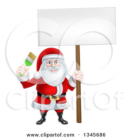 Clipart of a Christmas Santa Claus Holding a Green Paintbrush and Sign 3 - Royalty Free Vector Illustration by AtStockIllustration