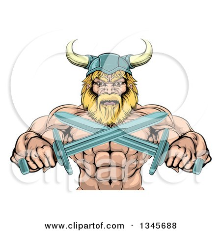 Clipart of a Cartoon Tough Muscular Blond Male Viking Warrior Holding Crossed Swords, from the Waist up - Royalty Free Vector Illustration by AtStockIllustration