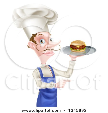 Clipart of a Snooty White Male Chef with a Curling Mustache, Holding a Gourmet Cheeseburger on a Tray and Pointing - Royalty Free Vector Illustration by AtStockIllustration