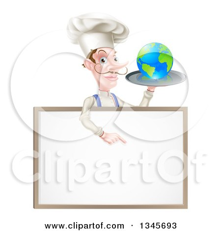 Clipart of a White Male Chef with a Curling Mustache, Holding Earth on a Platter and Pointing down at a Blank Menu Sign - Royalty Free Vector Illustration by AtStockIllustration