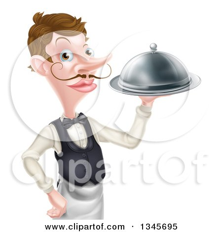 Clipart of a Cartoon Caucasian Male Waiter with a Curling Mustache, Holding a Cloche Platter - Royalty Free Vector Illustration by AtStockIllustration