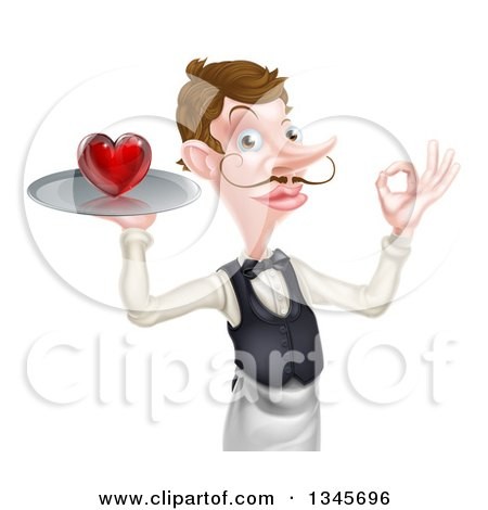 Clipart of a Cartoon Caucasian Male Waiter with a Curling Mustache, Holding a Red Love Heart on a Tray and Gesturing Ok - Royalty Free Vector Illustration by AtStockIllustration