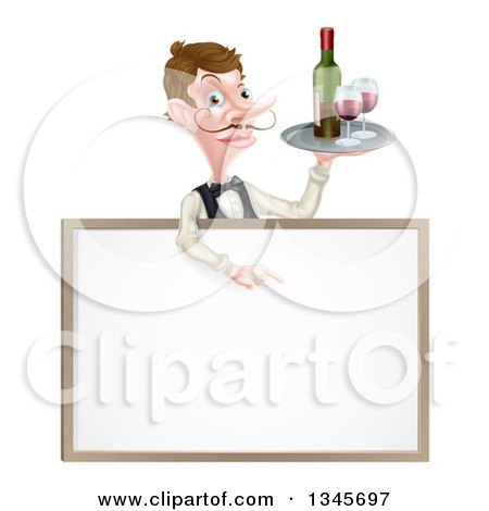 Clipart of a Cartoon Caucasian Male Waiter with a Curling Mustache, Holding Red Wine on a Tray and Pointing down over a Blank Menu Sign Board - Royalty Free Vector Illustration by AtStockIllustration
