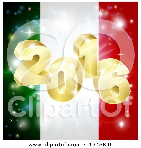 Clipart of a 3d 2016 and Fireworks over an Italian Flag - Royalty Free Vector Illustration by AtStockIllustration