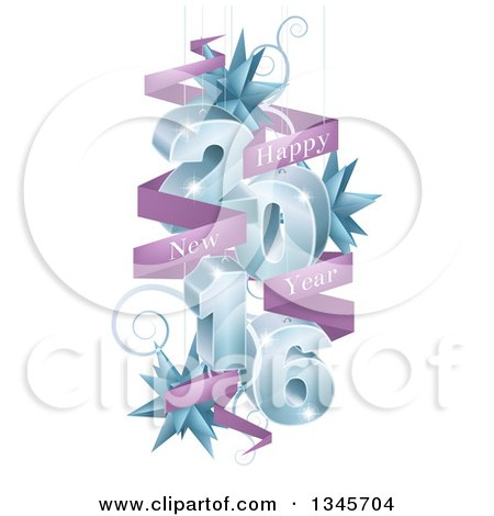 Clipart of a 3d Blue 2016 with Suspended Swirls, Stars and Purple Happy New Year Banners - Royalty Free Vector Illustration by AtStockIllustration
