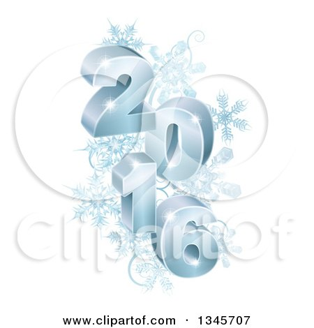 Clipart of 3d Blue Year 2016 with Snowflakes - Royalty Free Vector Illustration by AtStockIllustration