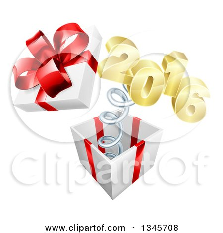 Clipart of a 3d Gold New Year 2016 Popping out of a Gift - Royalty Free Vector Illustration by AtStockIllustration