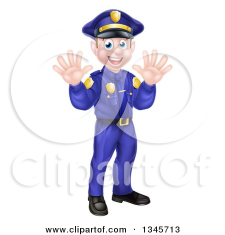 Clipart of a Cartoon Happy Caucasian Male Police Officer Waving with Both Hands - Royalty Free Vector Illustration by AtStockIllustration