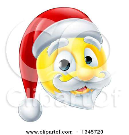 Clipart of a 3d Christmas Santa Yellow Smiley Emoji Emoticon Face - Royalty Free Vector Illustration by AtStockIllustration