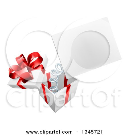 Clipart of a 3d Blank Sign Popping out of a Gift Box - Royalty Free Vector Illustration by AtStockIllustration