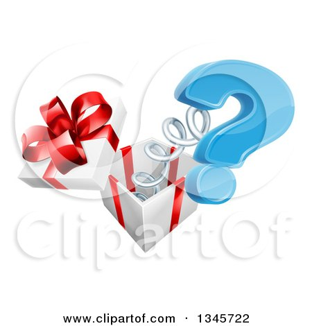 Clipart of a 3d Blue Question Mark Popping out of a Gift Box - Royalty Free Vector Illustration by AtStockIllustration