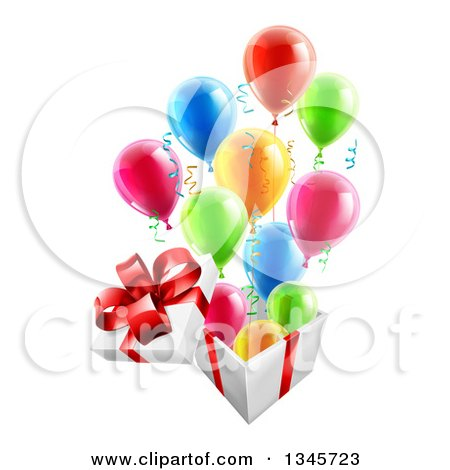 Clipart of a 3d Open Gift Box with Streamers and Colorful Party Balloons - Royalty Free Vector Illustration by AtStockIllustration